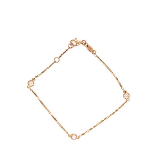 Diamond Bezel Bracelet - Yellow Gold