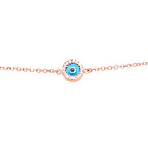Sparkle Evil Eye Cubic Bracelet - Rose Gold
