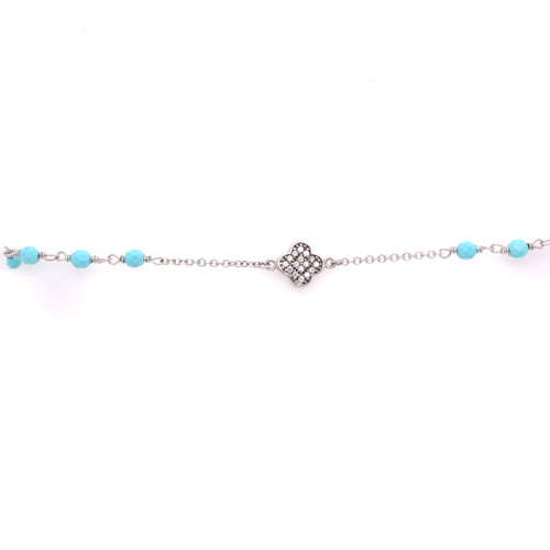 Cubic Clover & Turquoise Bead Bracelet - White Gold