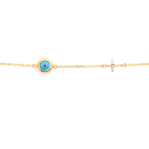 Evil Eye & Cross Bracelet - Yellow Gold