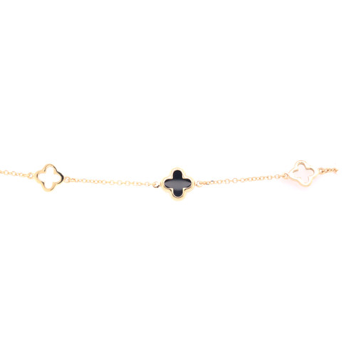 Clover Bracelet - Onyx - Yellow Gold