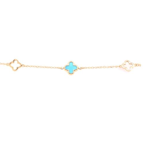 Turquoise Clover & Clover Bracelet - White Gold