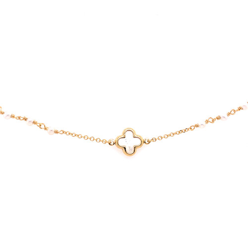 Mother of Pearl Clover & Pearl Bracelet - Yellow Gold