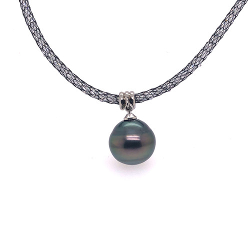 Tahitian Pearl and Black Mesh Crystal Necklet