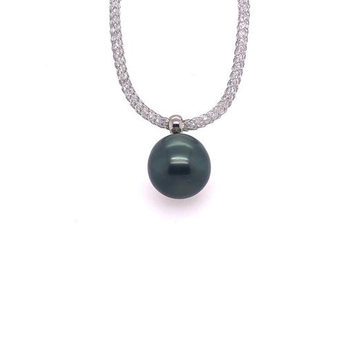 Tahitian Pearl and Grey Mesh Crystal necklet