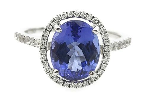 Oval Tanzanite & Halo Diamond Ring
