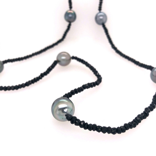 Long Tahitian Pearl and Spinel Necklace