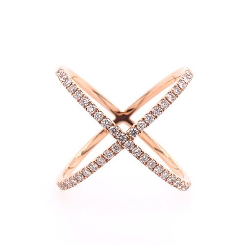Diamond Criss Cross Ring - Rose Gold