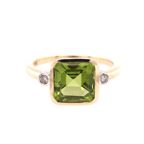 Asscher Cut Peridot & Diamond Ring