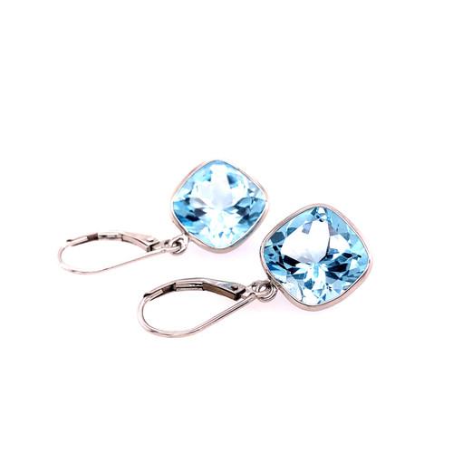 Blue Topaz Bezel Earrings