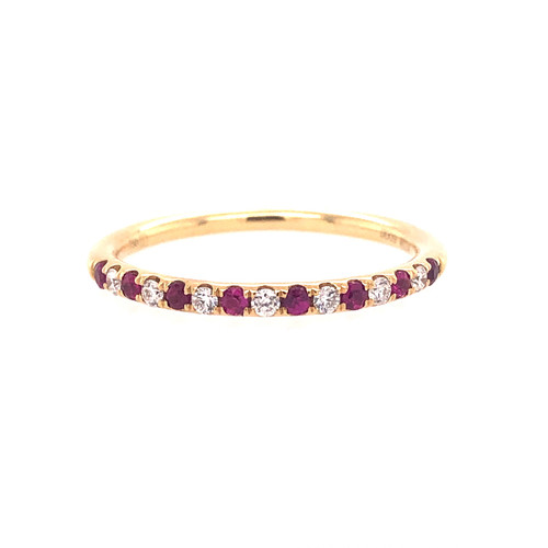 Ruby & Diamond Mini Curve Band - Yellow Gold
