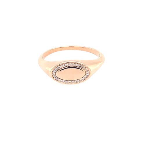 Pavé Oval Signet Ring