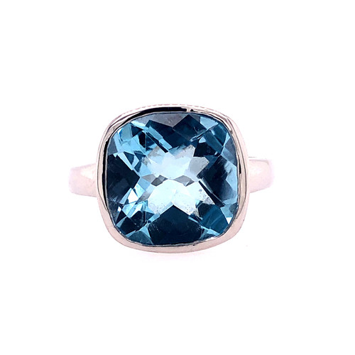 Checker Blue Topaz Ring