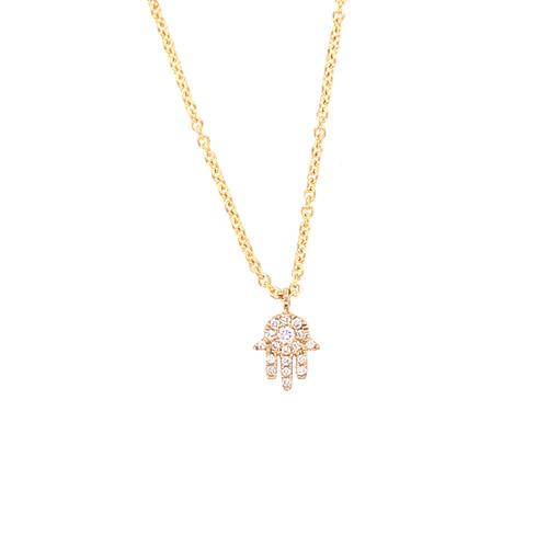 Diamond Hamsa on Chain -Yellow Gold