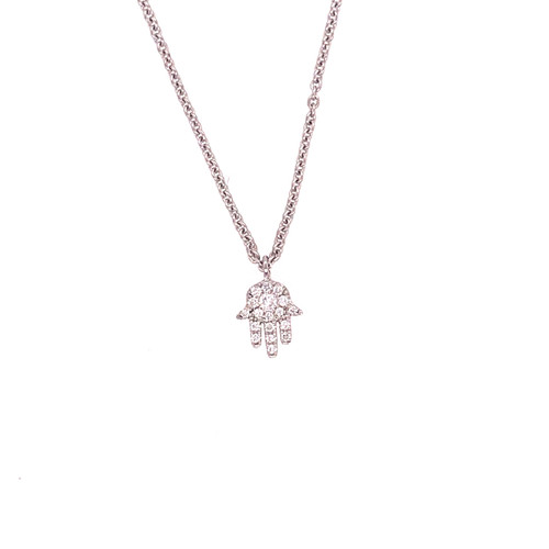 Diamond Hamsa on Chain -White Gold