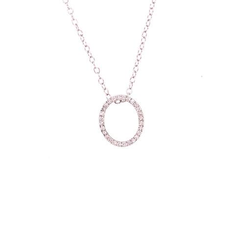 Diamond Open Oval Pendant on Chain - White Gold