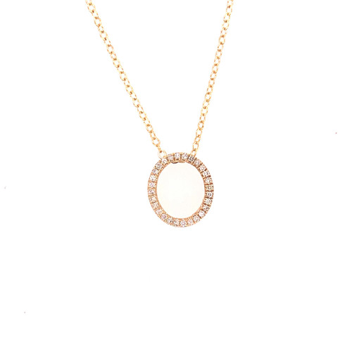 Diamond Open Oval Pendant on Chain - Yellow Gold