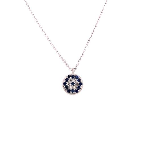 Sapphire & Diamond Evil Eye Necklace - White Gold