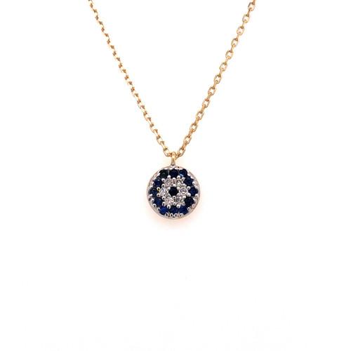 Sapphire & Diamond Evil Eye Necklace - Yellow Gold
