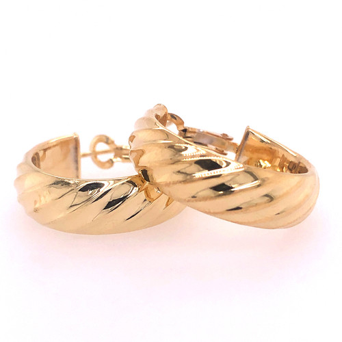 Silver Gold Plated Wide Twist Hoops