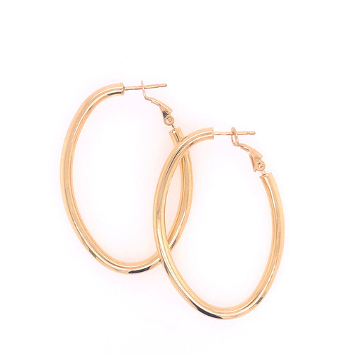 Silver Gold Plated Long Oval Hoops