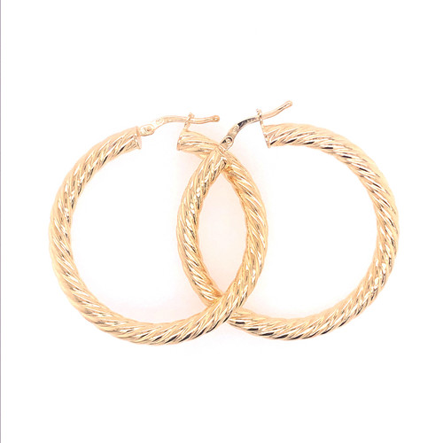 Silver Gold Plated Big Twist Round Hoops