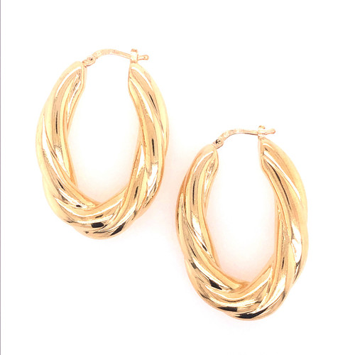 Silver Gold Plated Twist Oval Hoops