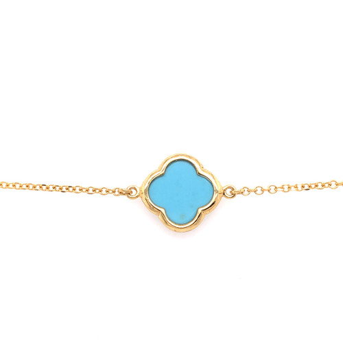Large Clover Bracelet - Turquoise - Yellow Gold