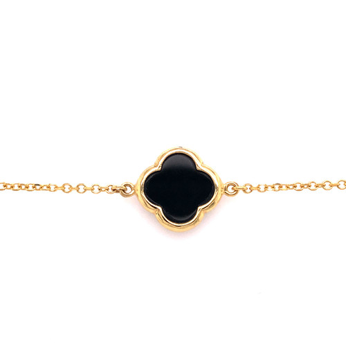 Large Clover Bracelet - Onyx - Yellow Gold