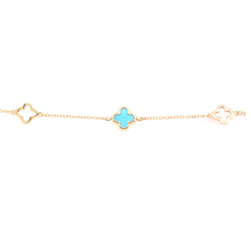 Clover Bracelet - Turquoise  - Yellow Gold