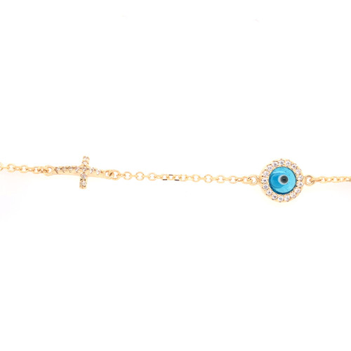 Cubic Evil Eye & Cross Bracelet - Yellow Gold