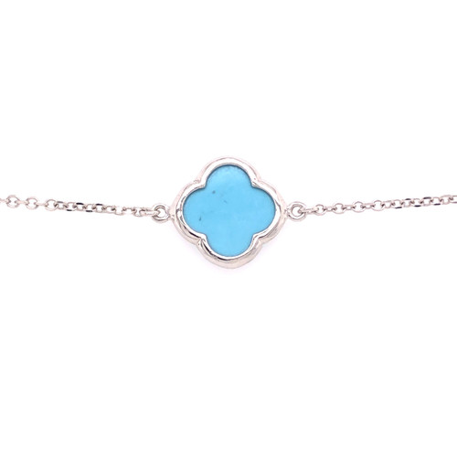 Large Clover- Turquoise - White Gold