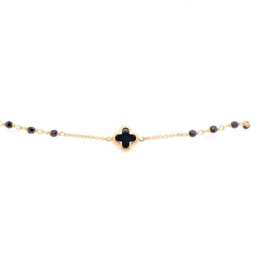 Clover & Bead Bracelet - Onyx - Yellow Gold