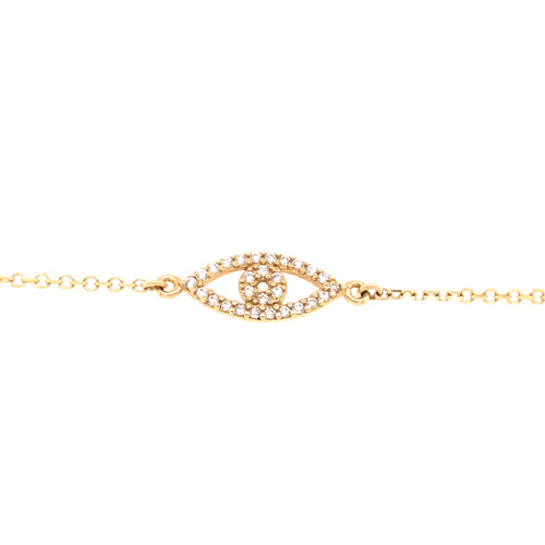Cubic Evil Eye Bracelet- Yellow Gold