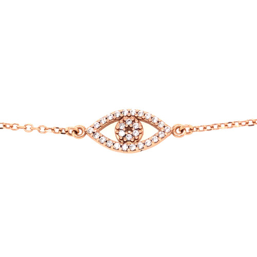 Cubic Evil Eye Bracelet - Rose Gold