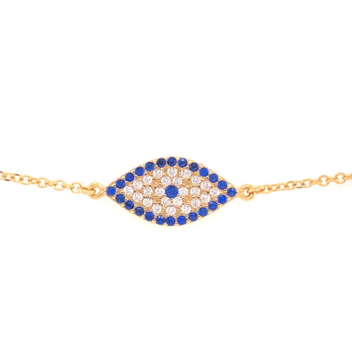 Blue & White Cubic Evil Eye Bracelet - Yellow Gold