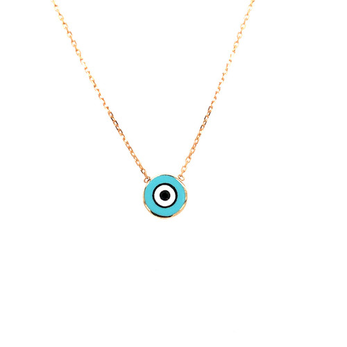 Blue Enamel Round Evil Eye Necklace - Yellow Gold