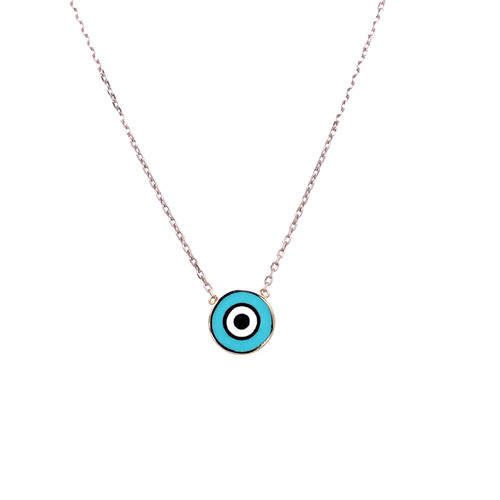 Blue Enamel Round Evil Eye Necklace - White Gold