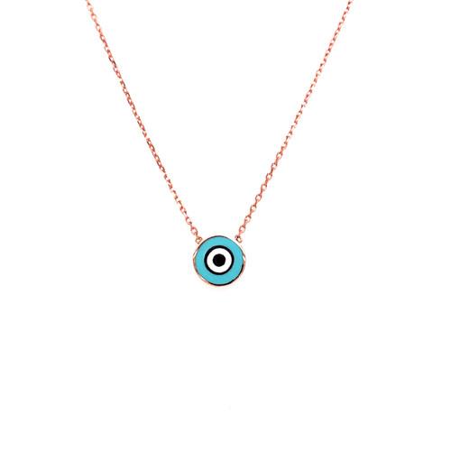 Blue Enamel Round Evil Eye Necklace - Rose Gold