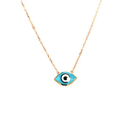 Blue Enamel Evil Eye Necklace - Yellow Gold