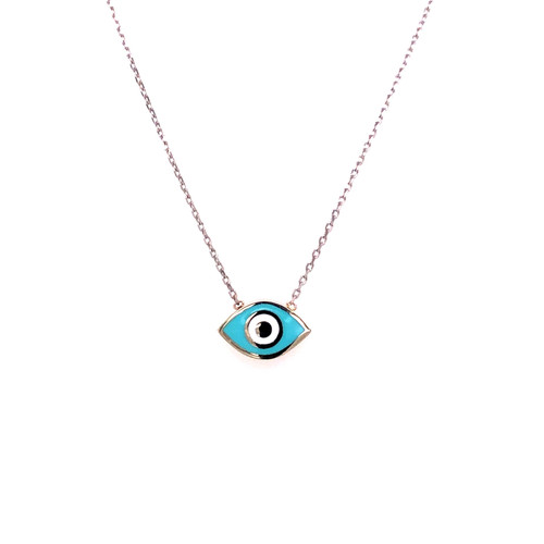 Blue Enamel Evil Eye Necklace - White Gold