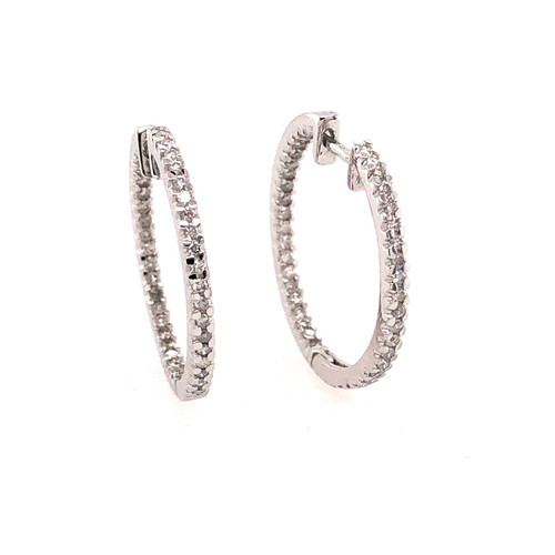 9CT Diamond Set hoops - White Gold