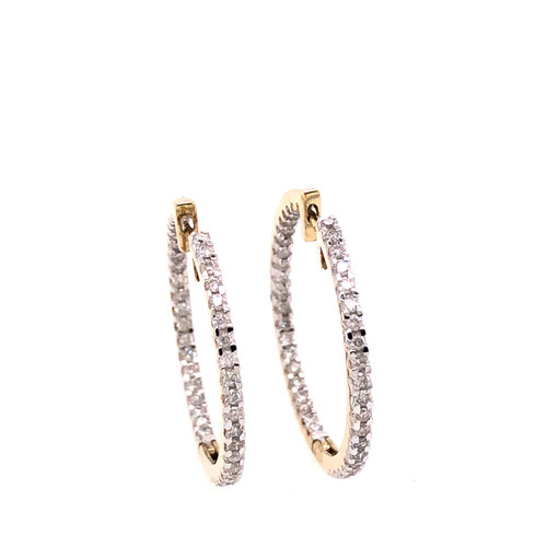 9CT Diamond Set hoops - Yellow gold