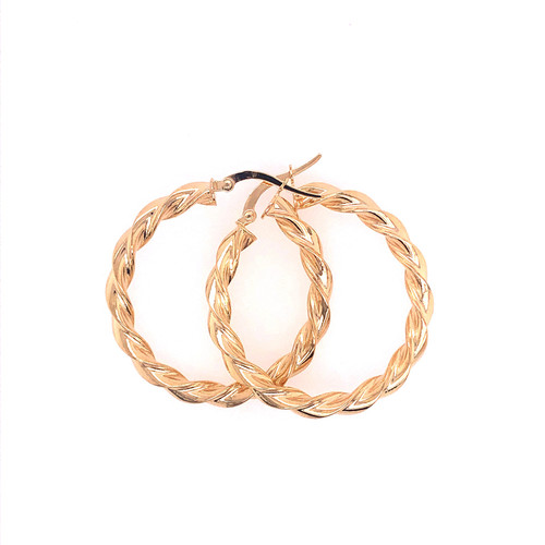 9CT Rounded Twist Hoops