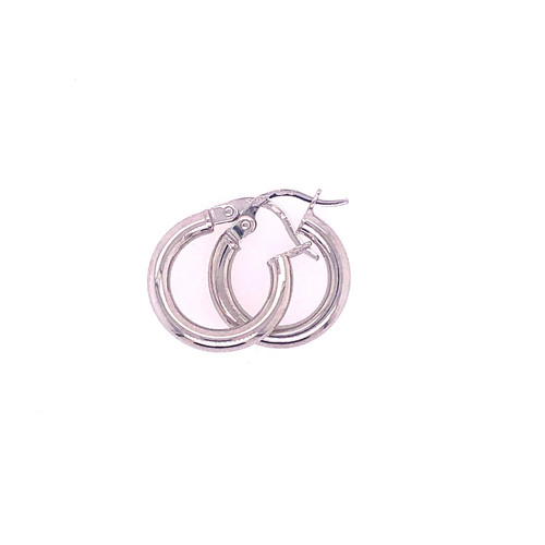 18CT White Gold Round Hoops