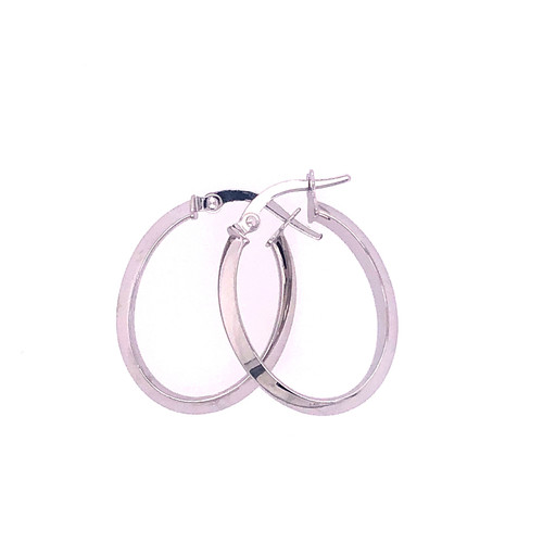9CT Knife Edge Hoops - White Gold