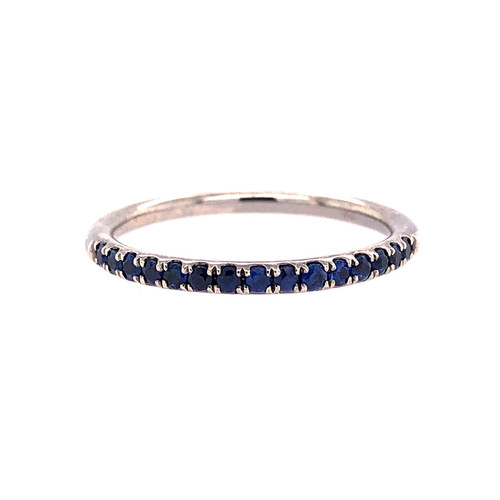 18CT Blue Sapphire Mini Curve Band - Black Rhodium