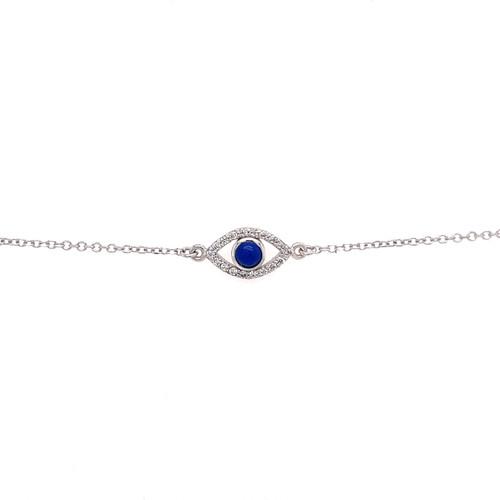Lapis Evil Eye Bracelet - White Gold