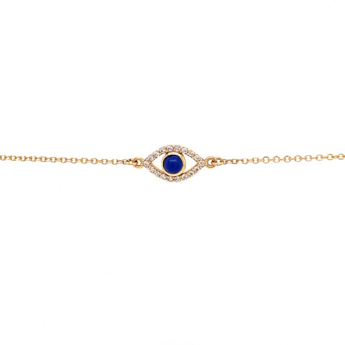 Lapis Evil Eye Bracelet - Yellow Gold