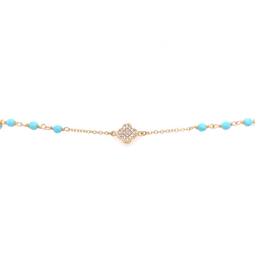 Cubic Clover & Turquoise Bead Bracelet - Yellow Gold